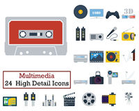 Set of 24 Multimedia Icons. Flat color design. Vector illustration Royalty Free Stock Photography