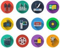 Set of multimedia icons. In flat design stock illustration