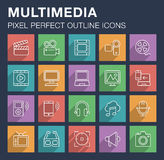 Set of multimedia icons with long shadow. Stock Images
