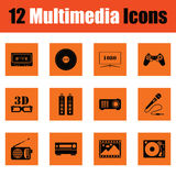 Set of multimedia icons Stock Photography