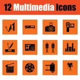 Set of multimedia icons. Orange design. Vector illustration Royalty Free Stock Photo