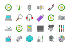 Set of multimedia  icons. Set of 24 radio  icnos Royalty Free Stock Photos