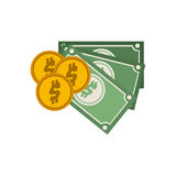 Set multiple bills with coin. Vector illustration Stock Photos