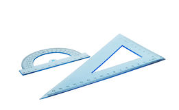 Set of multiple blue plastic rulers and the protractor Royalty Free Stock Images