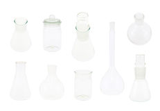 Set of multiple chemistry glassware Royalty Free Stock Photos