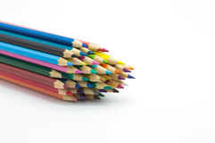 Set of multiple colour pencil on white background Royalty Free Stock Photos