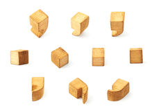 Set of multiple comma and dot symbols. Set of multiple wooden comma and dot symbols in different foreshortenings isolated over the white background Stock Photo
