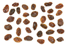 Set of multiple dried fruits black raisins isolated on white Stock Images