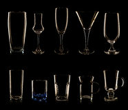 Set of multiple glasses and bottles Royalty Free Stock Photos
