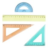 Set of multiple plastic rulers Stock Images