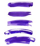 Set of multiple straight watercolor purple paint. Set of multiple straight and curved watercolor paint handmade brush strokes isolated on the white background as Stock Image