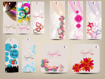 Set of multipurpose colorful tags. Abstract sets of colorful and floral decorated tags in diffrent shapes. EPS 10, can be use as tag, label, sticker, button Royalty Free Stock Image