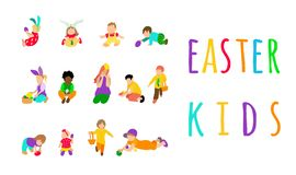 Set multiracial kids or children playing with multicolored easter eggs outdoor. Collection for easter egg hunt event royalty free illustration
