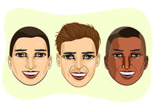 set of multiracial male avatar expressions Stock Image