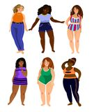 Set of multiracial plus size women models with different types o vector illustration