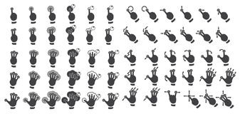 Set of multitouch gestures Stock Images