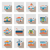 Set of municipal  houses in flat style Royalty Free Stock Photography