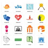 Set of municipal, inquiry, request a quote, bank branch, orchid, hospitality, vocabulary, broken glass, book now icons. Set Of 16 simple  icons such as municipal Stock Images