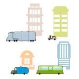 Set Municipal transport and public buildings. Passenger bus and Stock Image