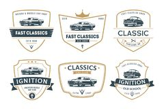 Set of muscle car emblems and badges. Classic car t-shirt template. Old american car from 60s vector illustration