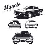 Set of muscle car icons and emblems  on white background. Front view and isometric view Royalty Free Stock Photography