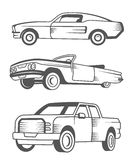 Set of Muscle car, Vintage car and Pickup Truck Stock Photo