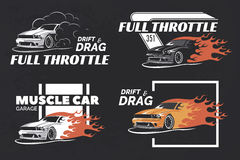Set of muscle logo, badges and emblems on dark grunge background. Service car repair, car restoration and car club design elements. T-shirt design. American Royalty Free Stock Image