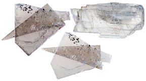 set of Muscovite mica pieces isolated on white Stock Photos