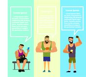 Set of muscular, bearded mans smartphone vector illustration. Royalty Free Stock Images