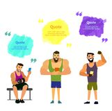Set of muscular, bearded mans smartphone vector illustration. Royalty Free Stock Photography