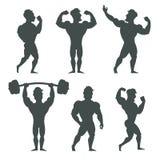 Set of muscular bodybuilder man silhouettes vector illustration Stock Image