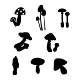 Set of mushroom silhouettes Royalty Free Stock Photo