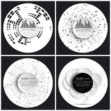 Set of 4 music album cover templates. Abstract backgrounds.  royalty free illustration