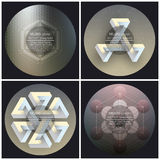 Set of 4 music album cover templates. Abstract backgrounds. Geometrical patterns.  royalty free illustration