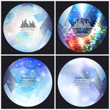Set of 4 music album cover templates. Abstract. Backgrounds. Geometrical patterns. Triangular style vector stock illustration