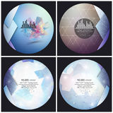 Set of 4 music album cover templates. Abstract. Backgrounds. Geometrical patterns. Triangular style vector royalty free illustration