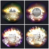 Set of 4 music album cover templates. Abstract. Multicolored backgrounds with bokeh lights and stars. Vector 3D pyramids, vector illustration Royalty Free Stock Image