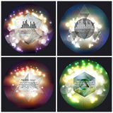 Set of 4 music album cover templates. Abstract. Multicolored backgrounds with bokeh lights and stars, vector illustration royalty free illustration