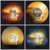 Set of 4 music album cover templates. Abstract. Multicolored backgrounds. Abstract 3D pyramids stock illustration