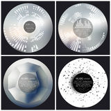 Set of 4 music album cover templates. Abstract vector illustration