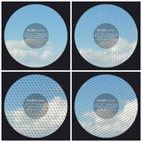 Set of 4 music album cover templates. Blue cloudy sky. Abstract multicolored backgrounds. Natural geometrical patterns.  Royalty Free Stock Photos