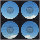 Set of 4 music album cover templates. Blue cloudy. Sky. Collection of abstract multicolored backgrounds. Natural geometrical patterns. Triangular and hexagonal stock illustration