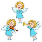 Set of music angels Royalty Free Stock Photos