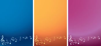 Set - vector music backgrounds with notes Royalty Free Stock Photo