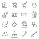 Set of music festival line vector icons. Outline style Stock Photos