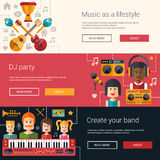 Set of music flat modern illustrations, banners Royalty Free Stock Photo