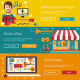 Set of music flat modern illustrations, banners Royalty Free Stock Image