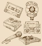 Set of music hand-drawn icons Royalty Free Stock Image
