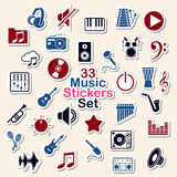 Set of music icon stickers Royalty Free Stock Images