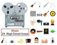 Set of 24 Music Icons. Flat color design. Vector illustration stock illustration